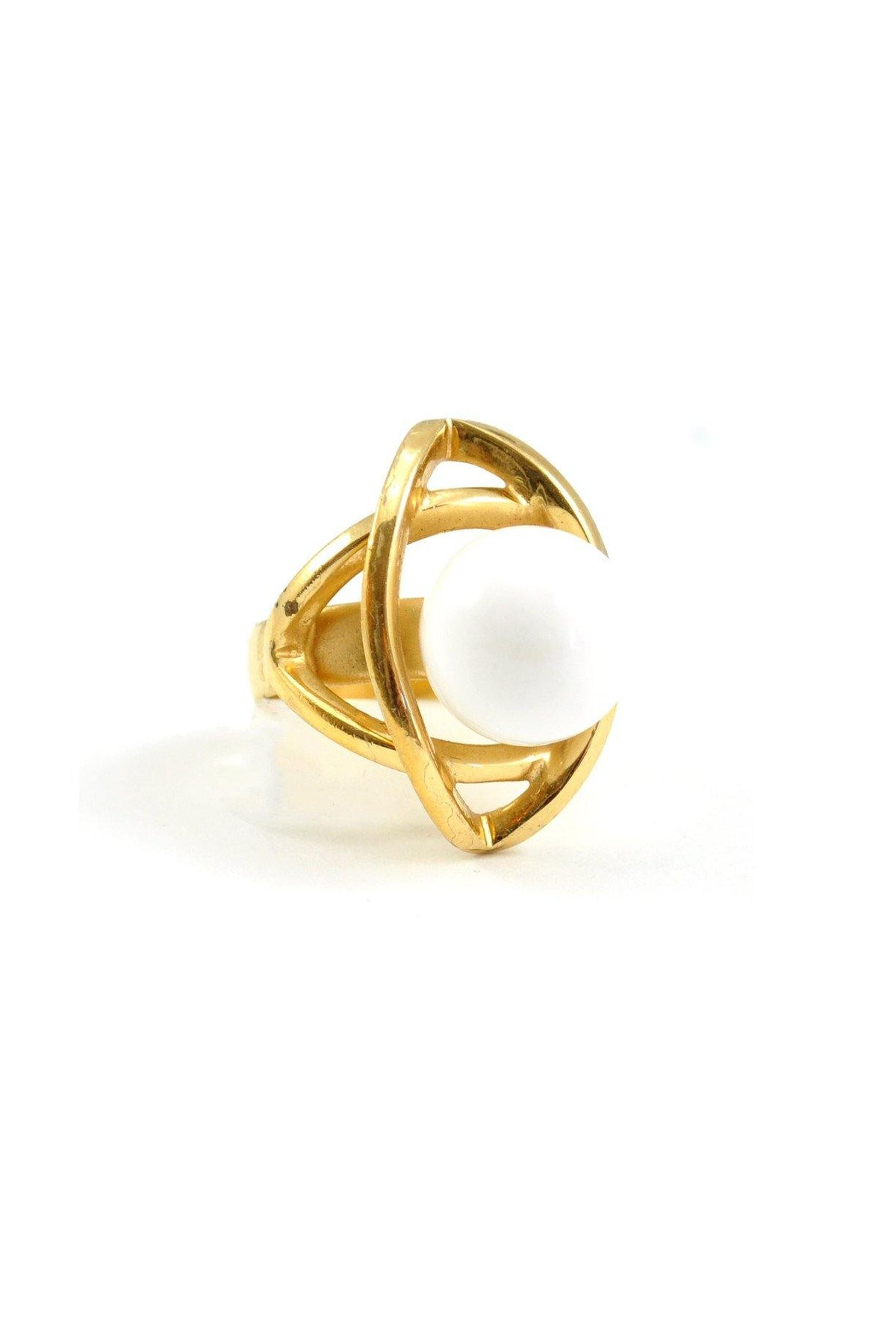 60's__Napier_White Bauble Cocktail Ring