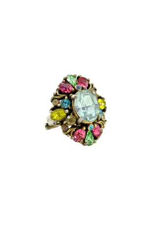50's__Hollycraft__Rhinestone Statement Ring