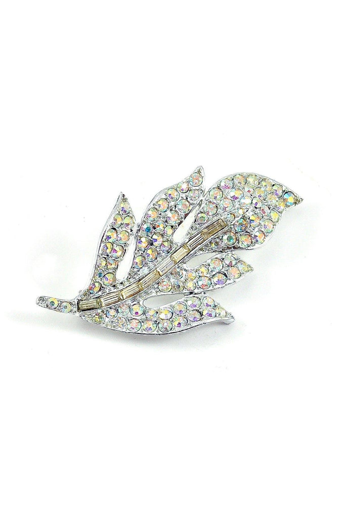 60s__Vintage__Irridescent Rhinestone Feather Brooch