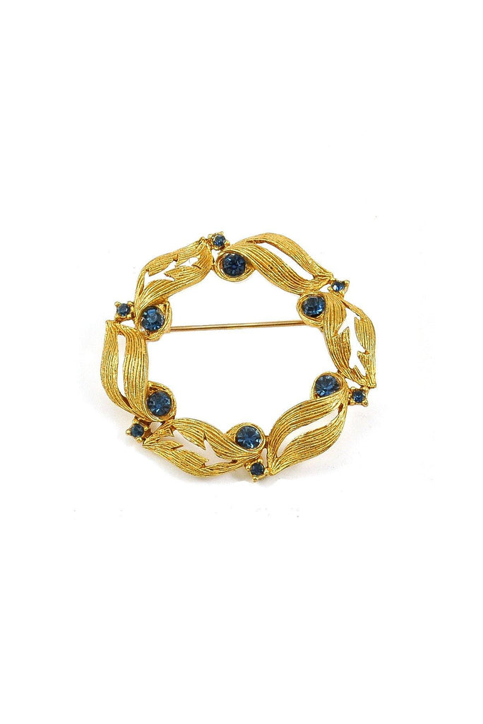 50s__Vintage__Blue Rhinestone Wreath Brooch