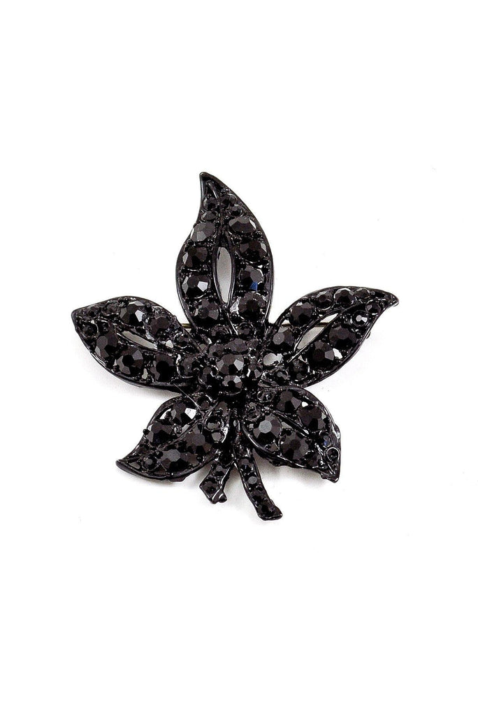 50s__Vintage__Black Painted Rhinestone Brooch