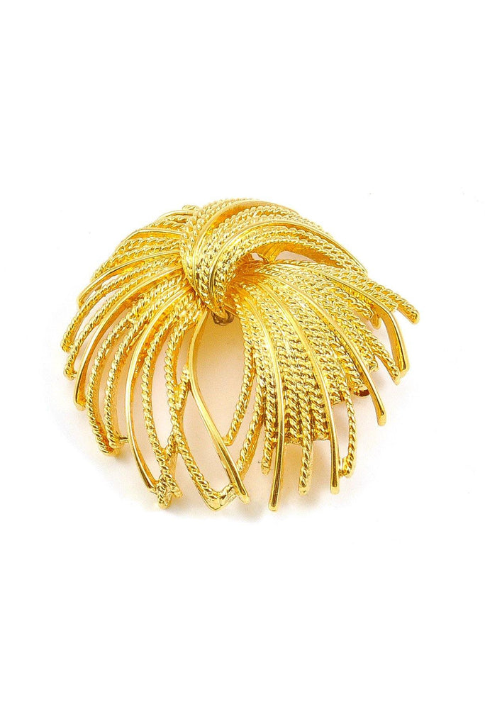 80's__Monet__Gold Fanned Brooch