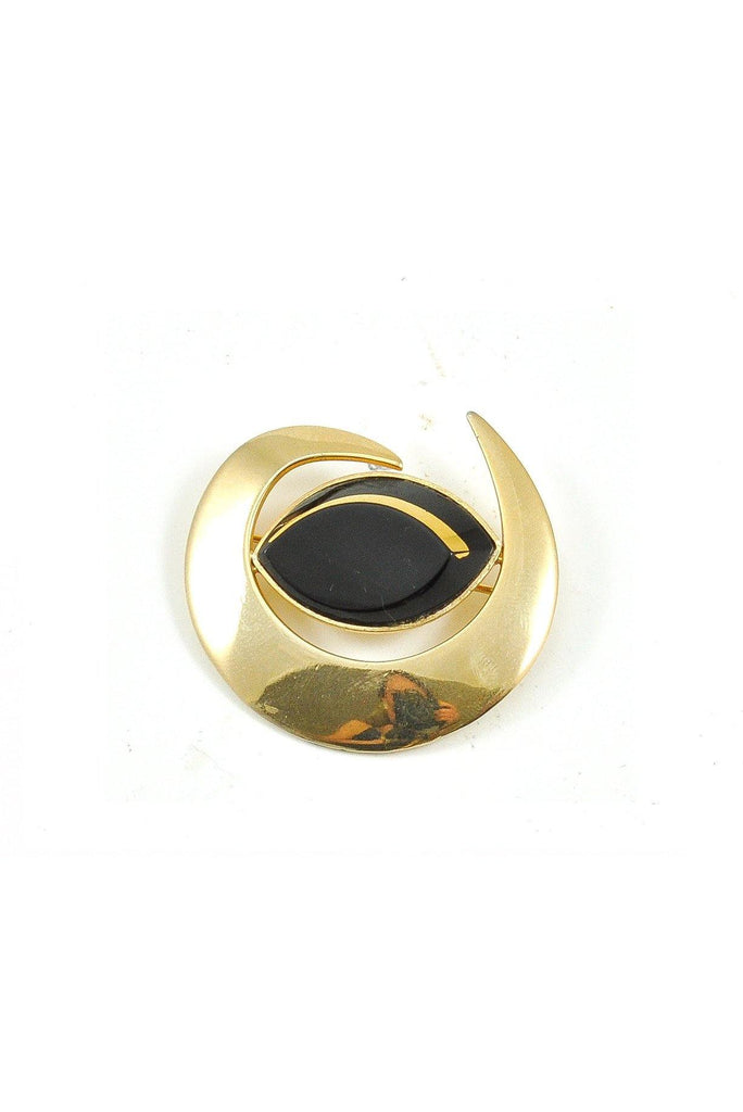 60s__Monet__Black Enamel Swirled Brooch