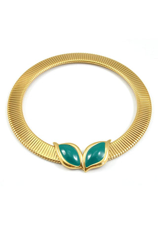 80's__Monet__Green Gem Omega Choker Necklace