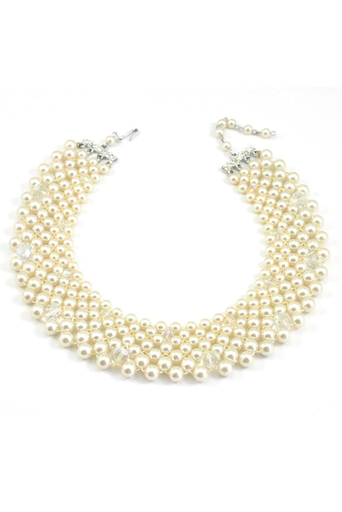 50's__Vintage__Crystal and Pearl Bib Necklace