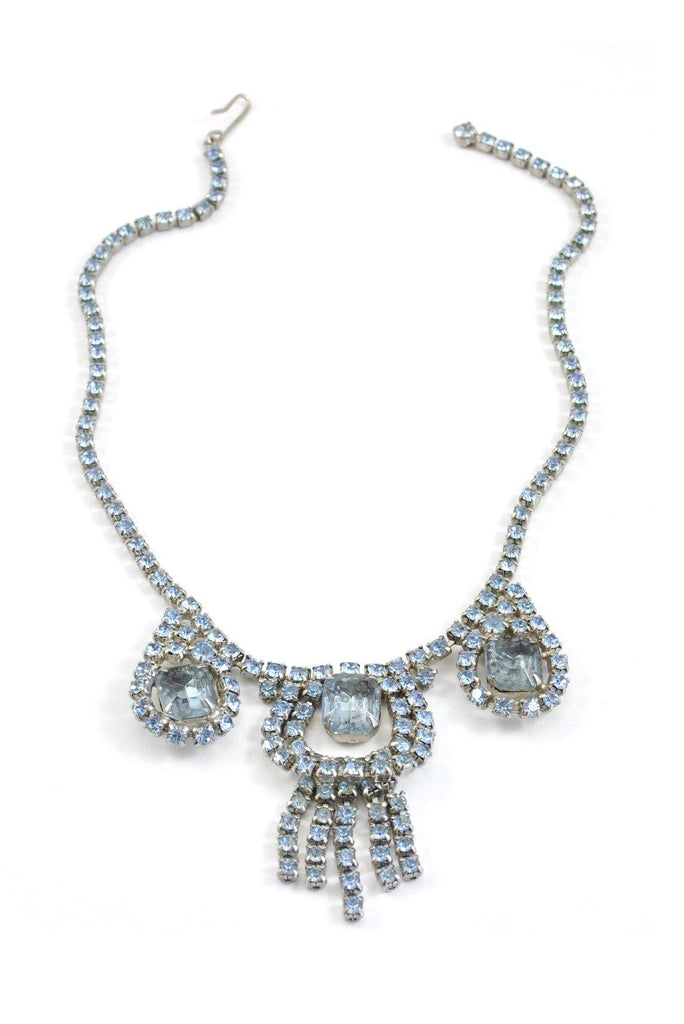 50's__Vintage__Light Blue Fringe Rhinestone Necklace