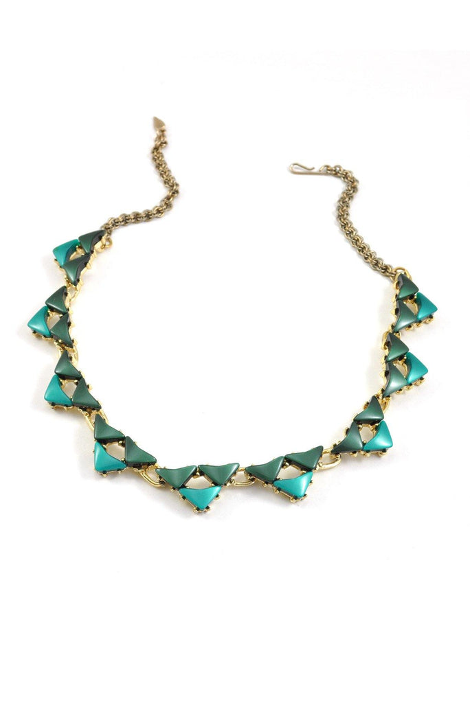 60's__Vintage__Green Lucite Statement Necklace