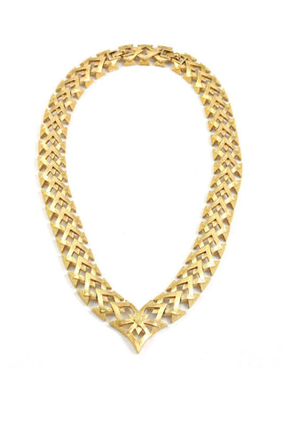60's__Monet__Gold Statement Necklace