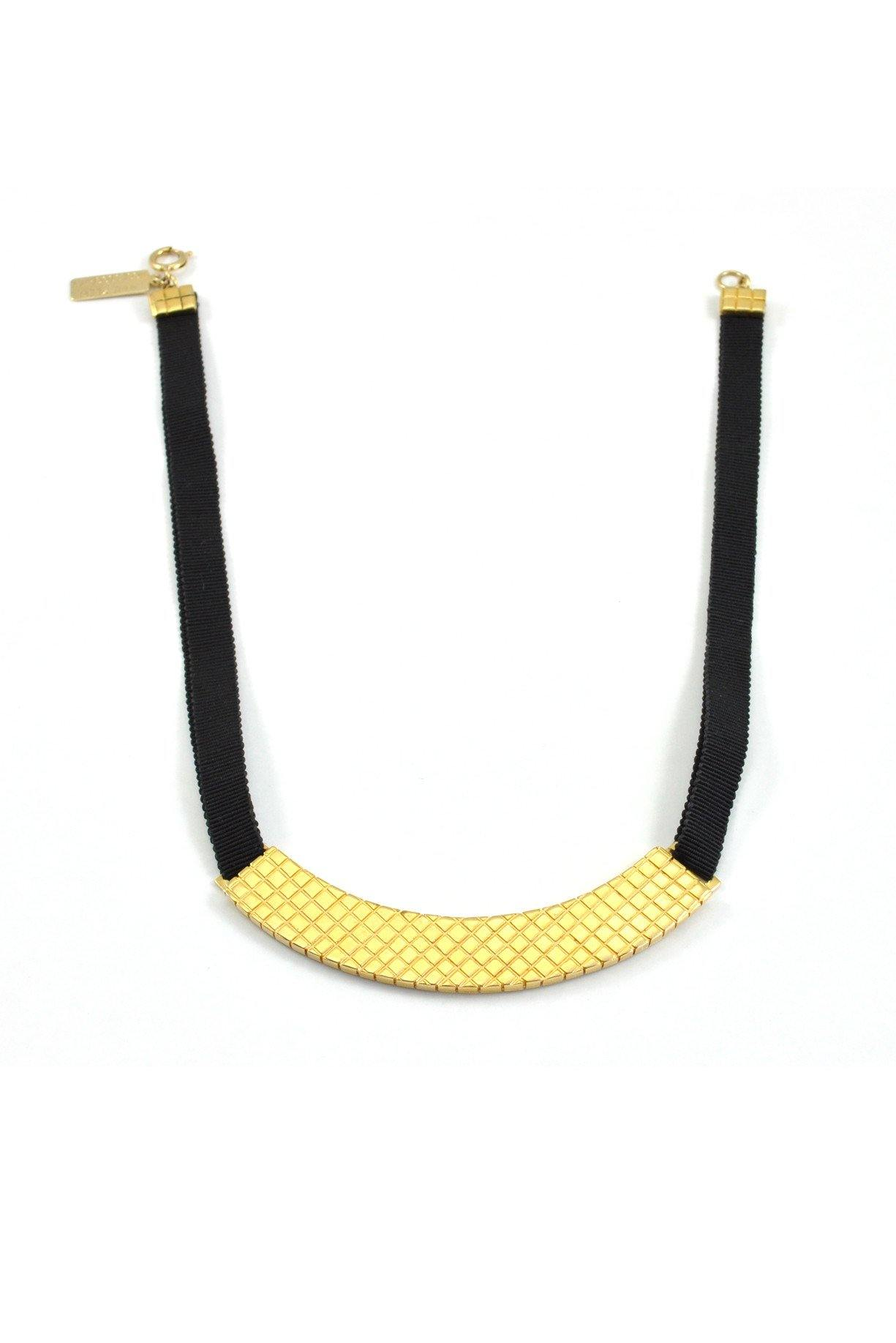 80's__Anne Klein__Black Bar Choker Necklace