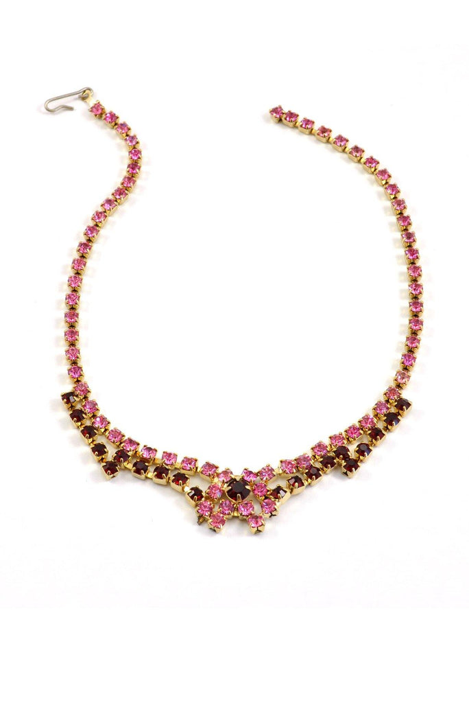 50's__Vintage__Pink and Red Rhinestone Necklace