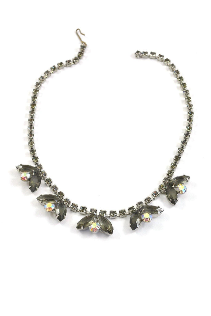 50's__Vintage__Grey Rhinestone Statement Necklace