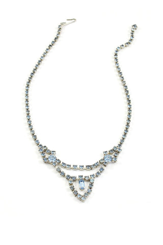 50's__Vintage__Light Blue Rhinestone Necklace