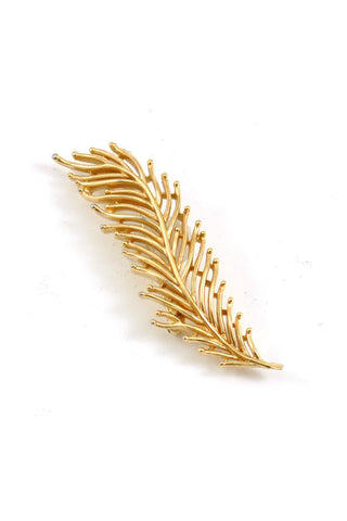 50's__Trifari__Gold Feather Brooch