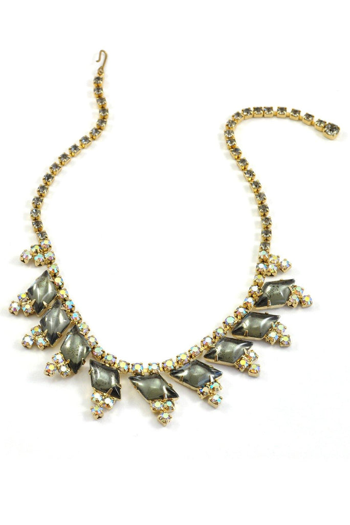60's__Vintage__Grey Rhinestone Statement Necklace