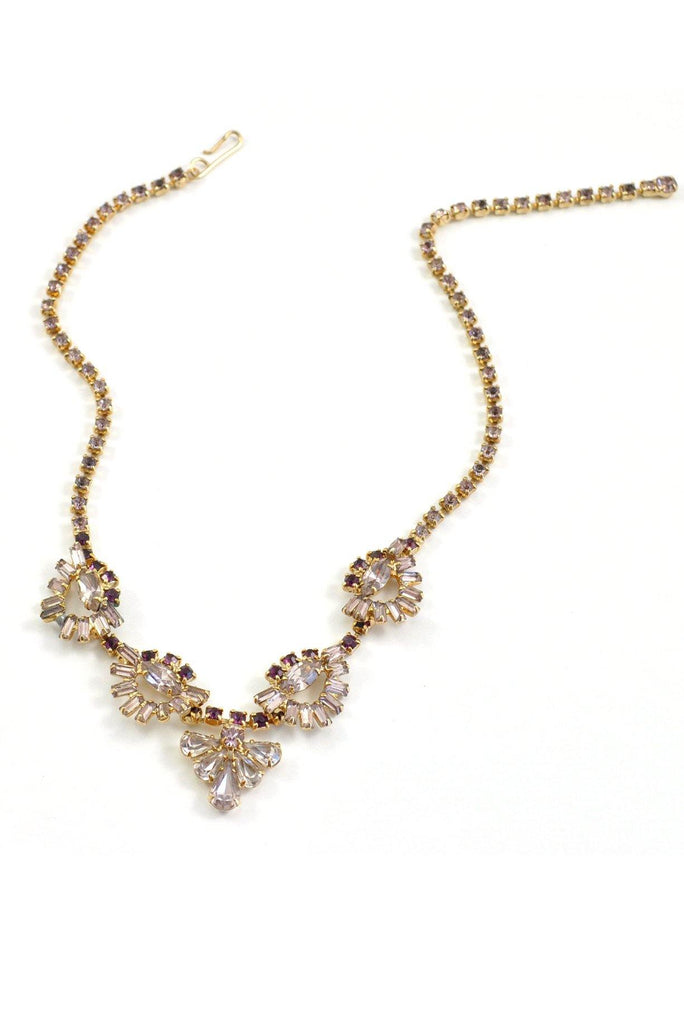 50's__Vintage__Pretty Purple Rhinestone Necklace