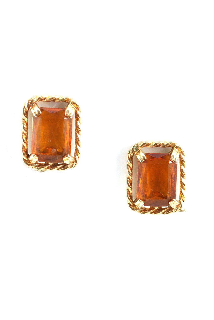 60s__Vintage__Amber Statement Clip-On Earrings