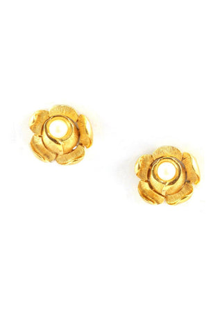 60s__Trifari__Pearl Rose Clip-On Earrings