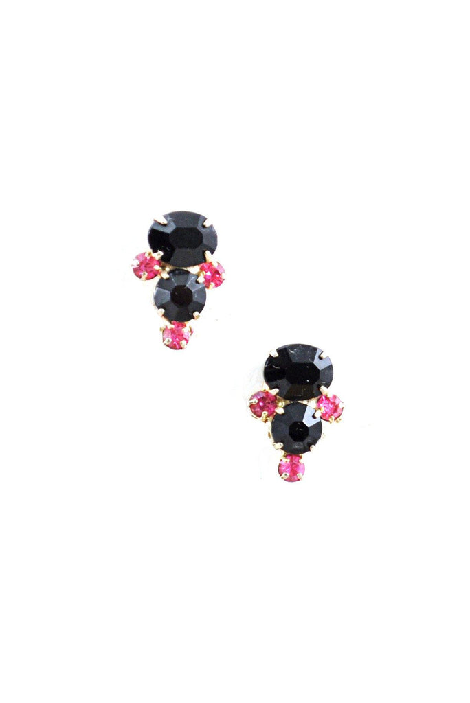 50s__Vintage__Pink and Black Rhinestone Clip-On Earrings