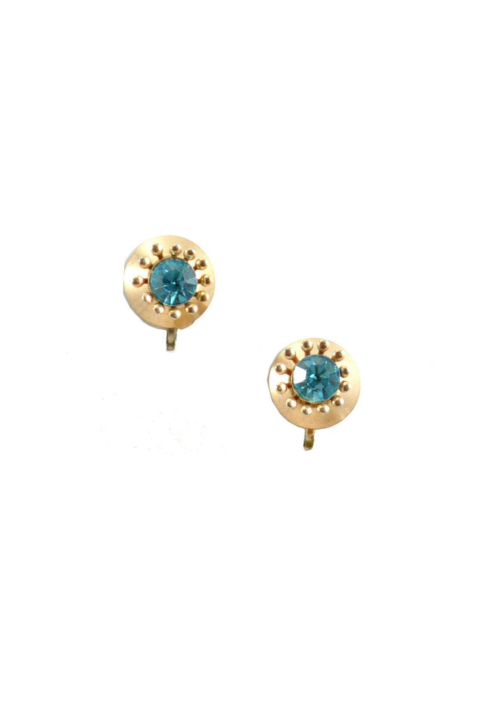 50s__Nemo__Blue Rhinestone Burst Clip-On Earrings