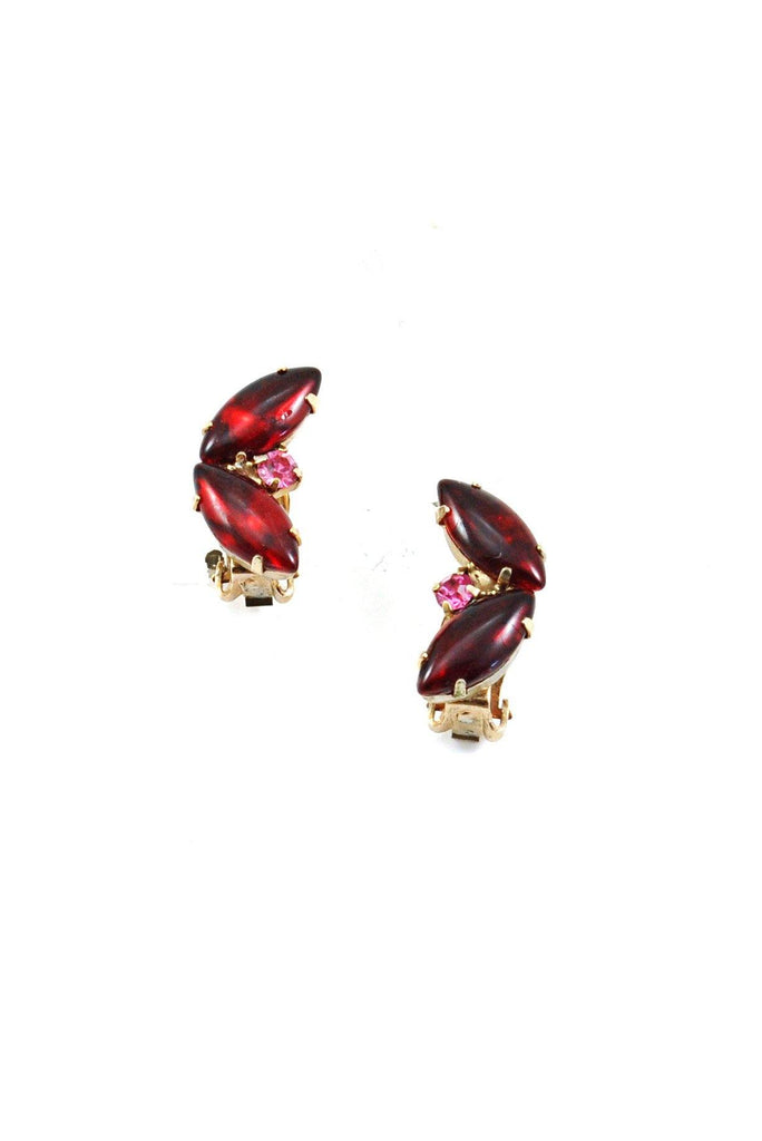 50's__Vintage__Mini Rhinestone Crawler Clip-On Earrings