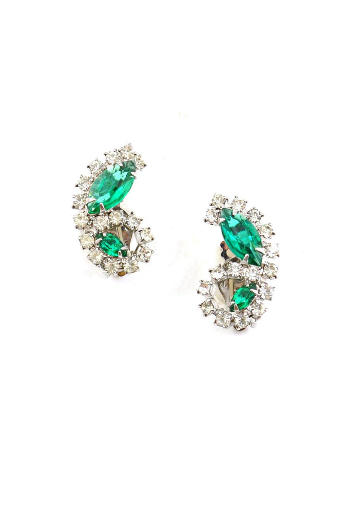 50's__Cathe__Green Rhinestone Clip-On Earrings