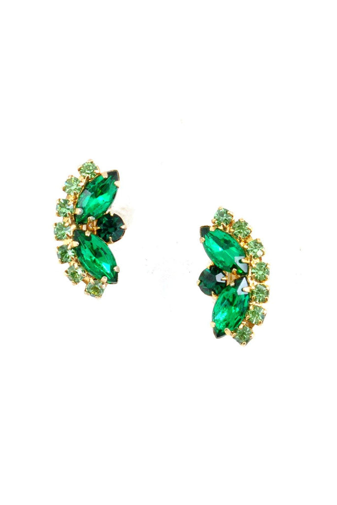 60's__Vintage__Green Rhinestone Crawler Clip-On Earrings