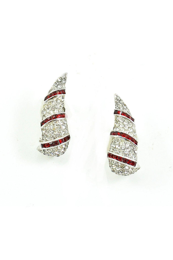 50s__Halee__Rhinestone Crawler Clip-On Earrings