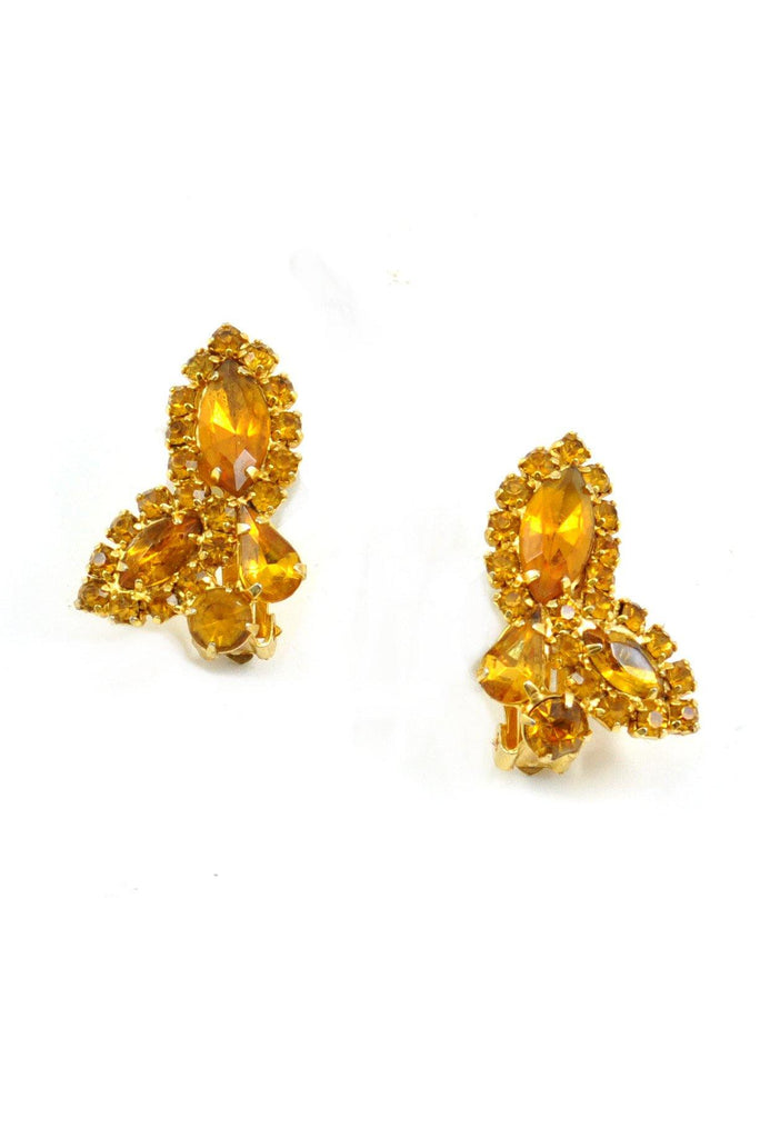 60s__Weiss__Amber Rhinestone Crawler Clip-On Earrings