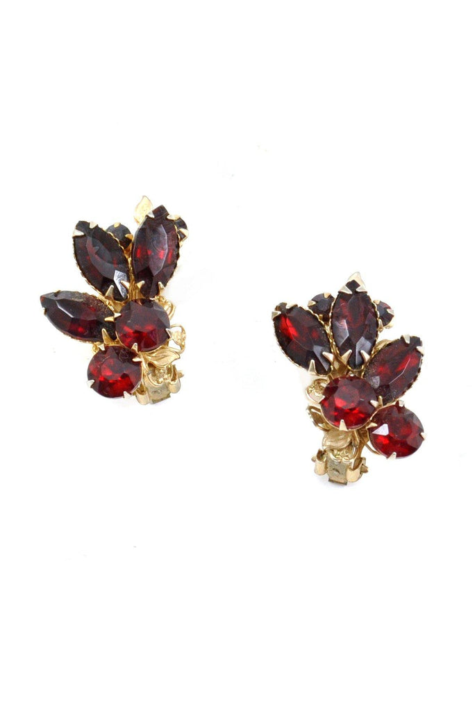 60s__Vintage__Ruby Red Rhinestone Crawler Clip-On Earrings