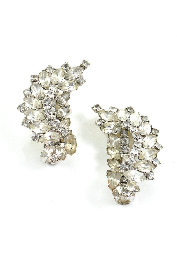 50's__Vintage__Rhinestone Crawler Clip-On Earrings