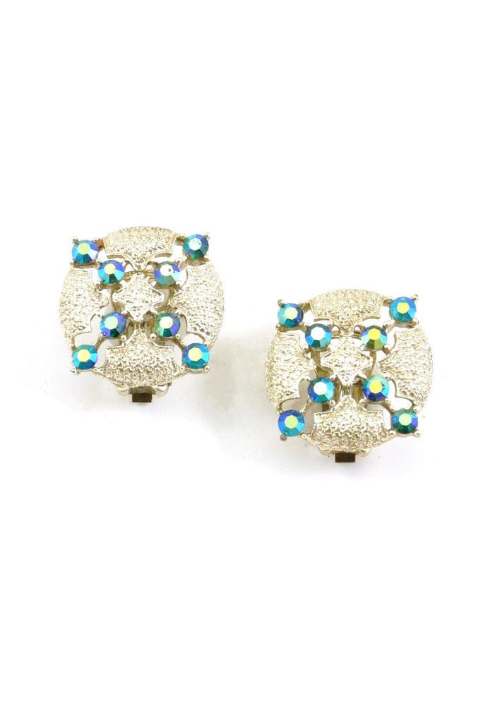60's__Vintage__Iridescent Rhinestone Clip-On Earrings