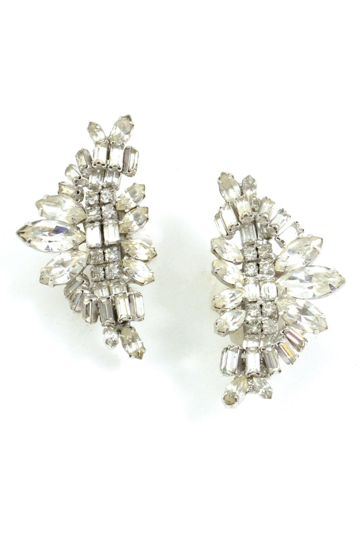 50's La Rel Rhinestone Crawler Clip-On Earrings