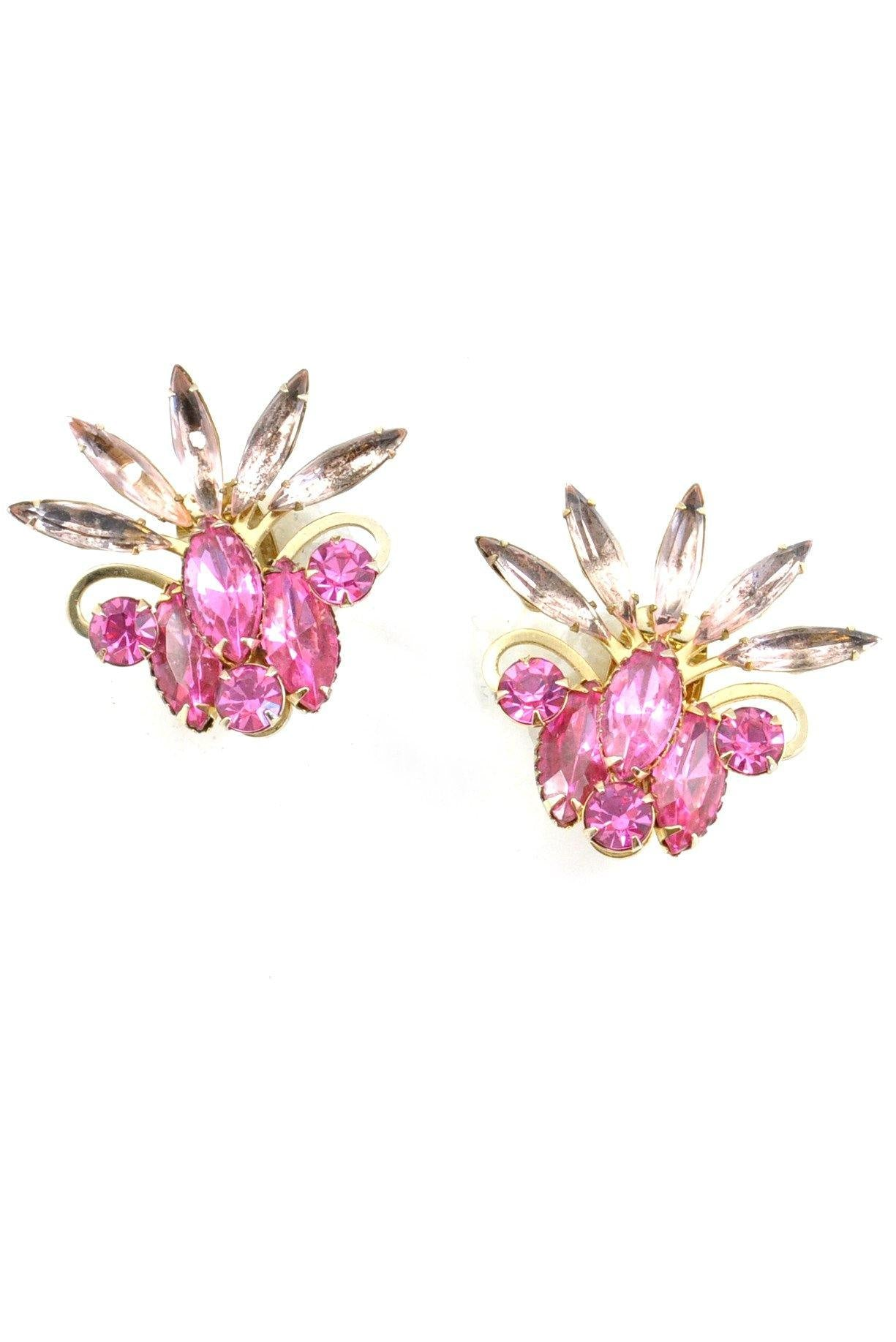 60s__Judy Lee__Pink Rhinestone Crawler Clip-On Earrings