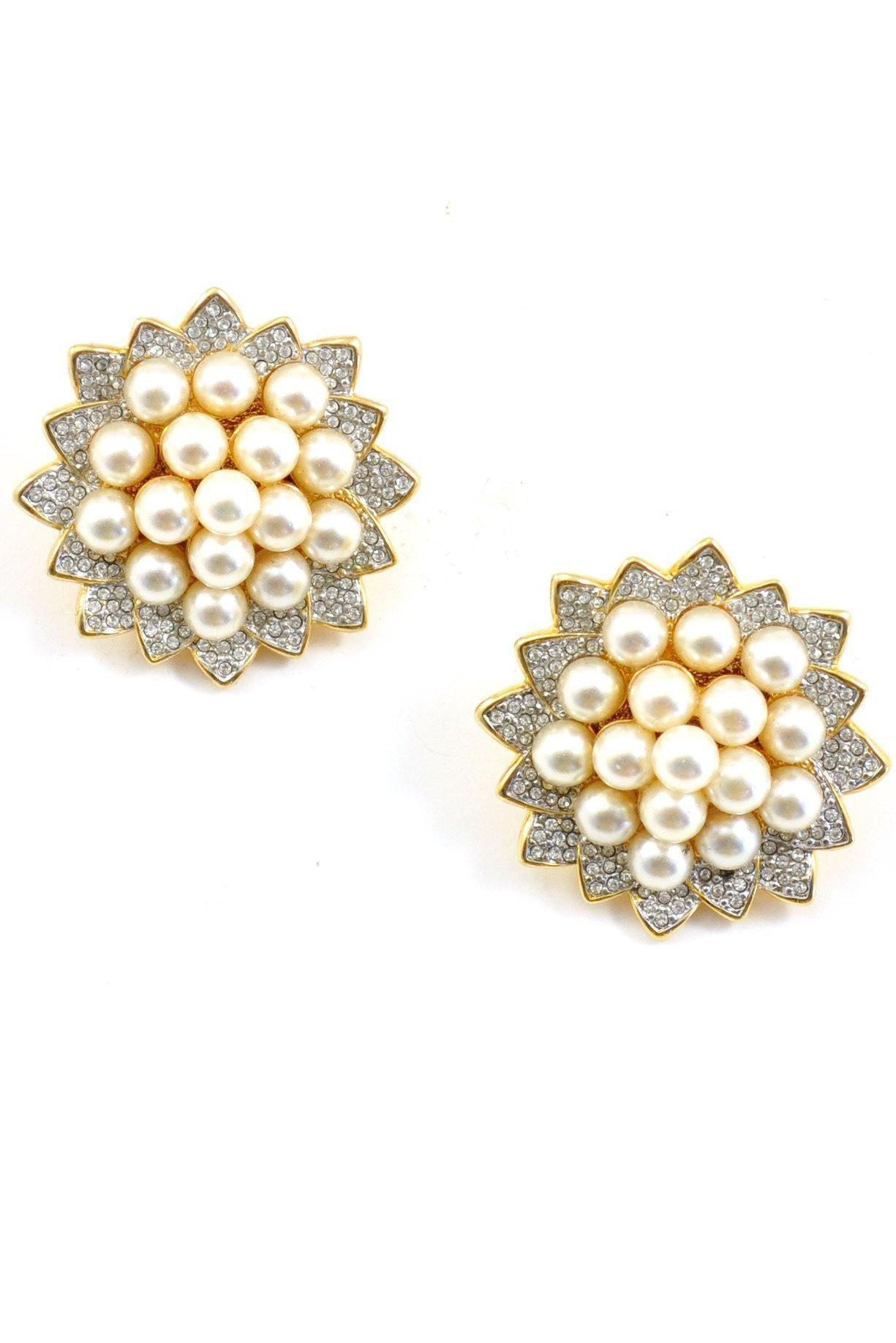 80s__Swarovski__Statement Pearl Clip-On Earrings