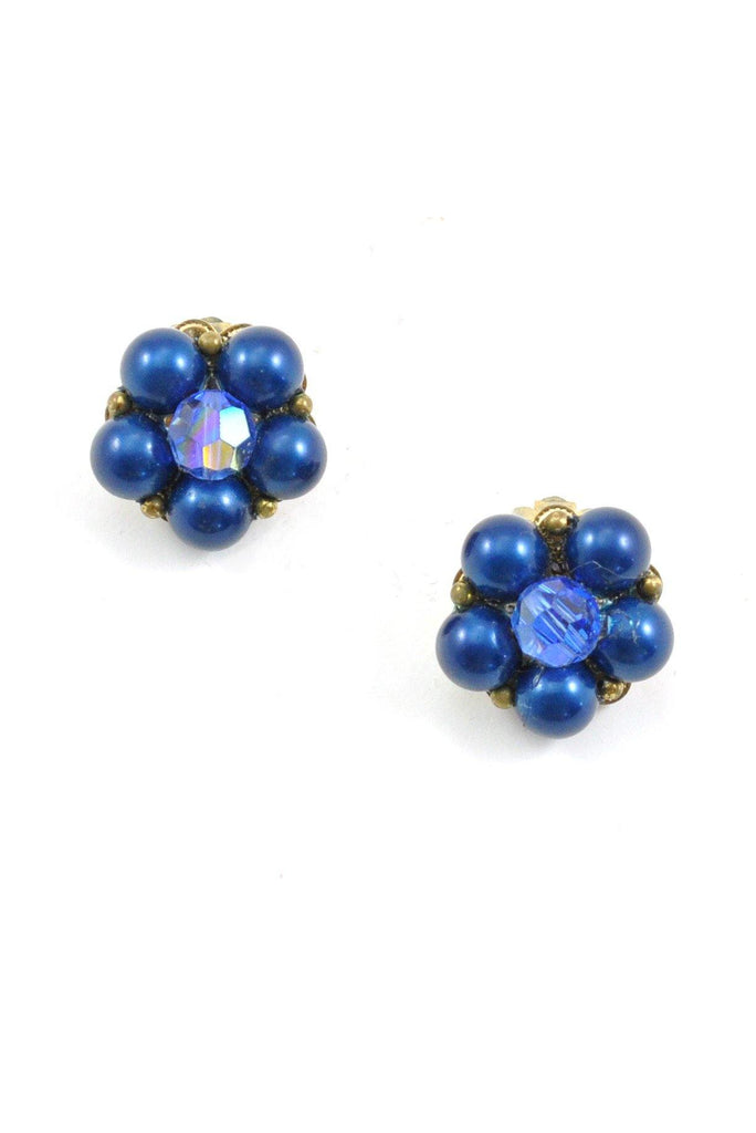 50s__Vintage__Blue Bauble Clip-On Earrings