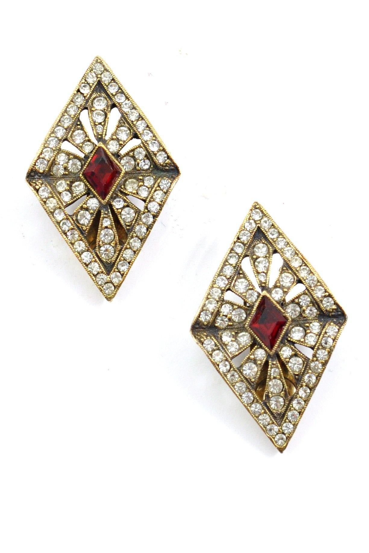 60s__Les Bernard__Statement Rhinestone Clip-On Earrings