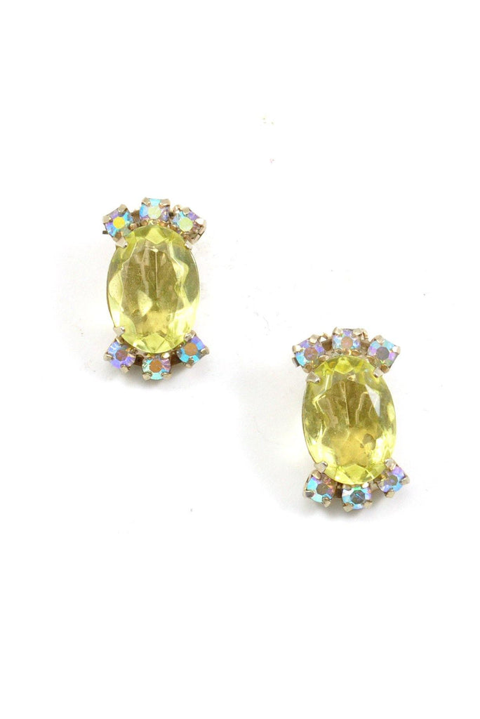 60's__Vintage__Citrus Rhinestone Clip-On Earrings