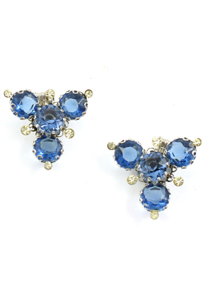 60's__Vintage__Navy Blue Rhinestone Clip-On Earrings
