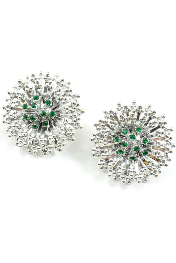 60s__Vintage__Emerald Rhinestone Burst Clip-On Earrings