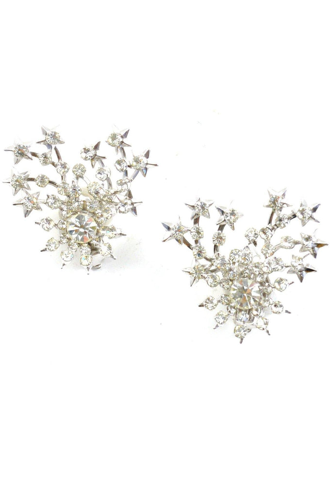 60s__Vintage__Starburst Spray Rhinestone Crawler Clip-On Earrings