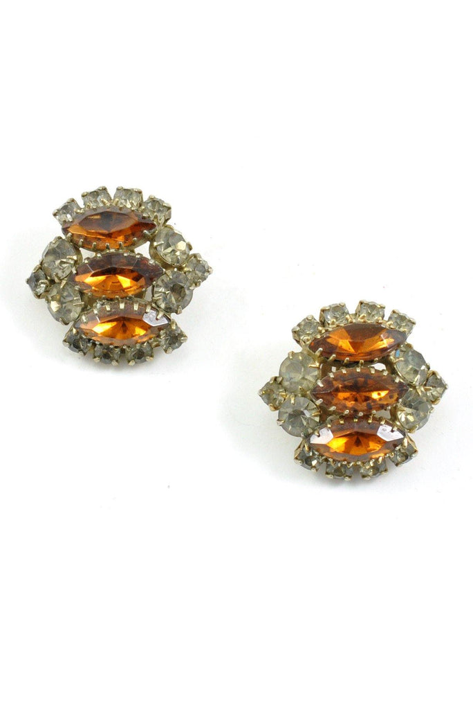 50s__Madeleine__Elegant Rhinestone Clip-On Earrings