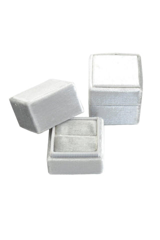 __Soft Grey__The Mrs Box Vintage Velvet Ring Box