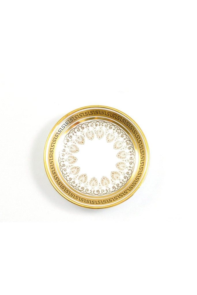 50s__A. French & Co__Mini Gold and Black Round Jewelry Tray