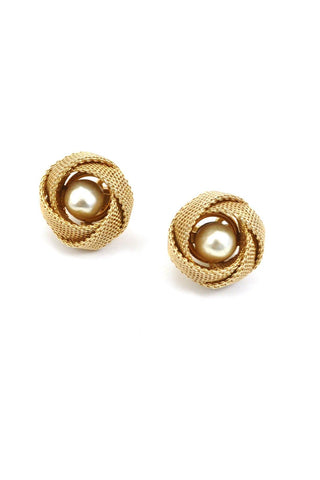 60s__Bergere__Mesh-Wrapped Pearl Clip-On Earrings