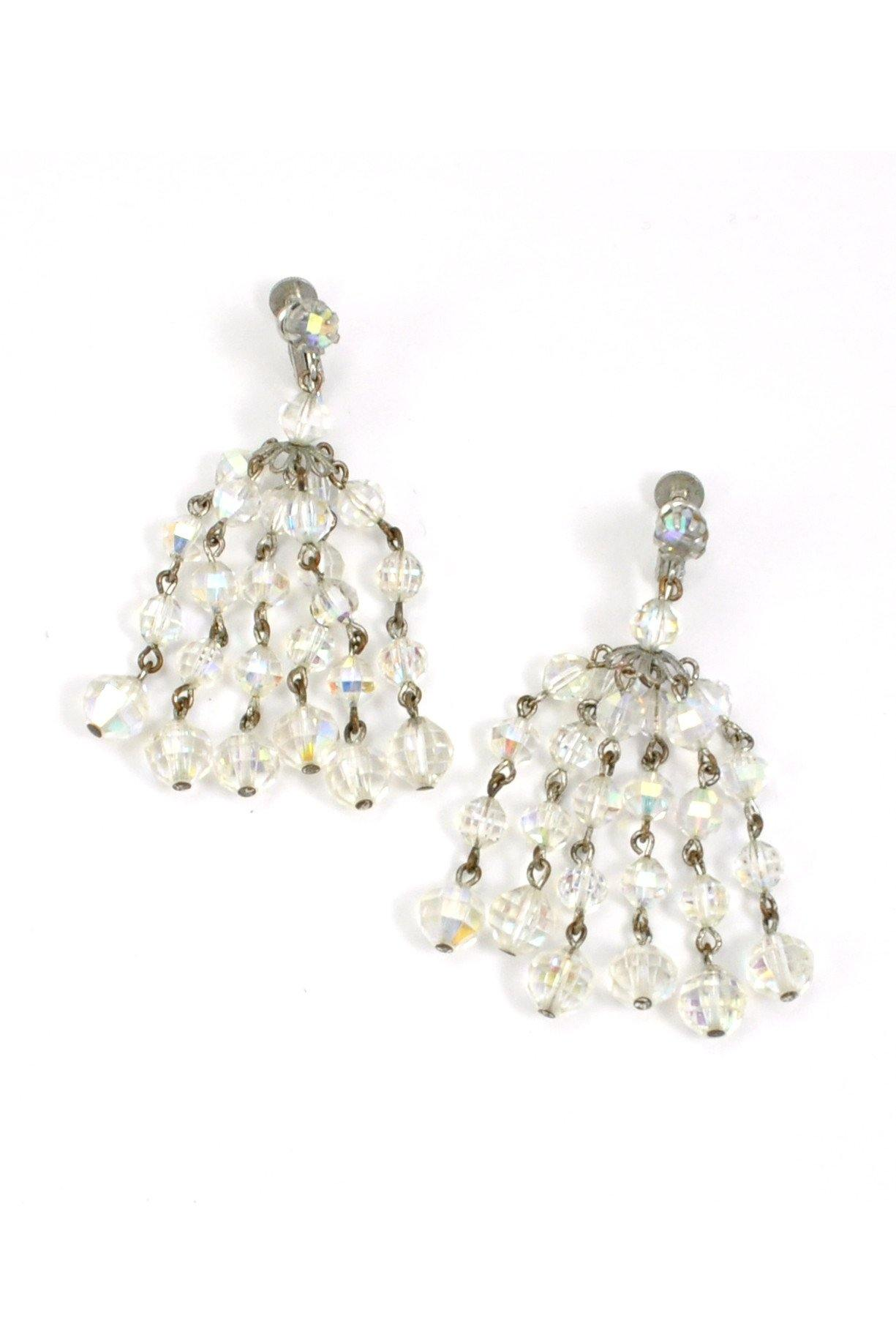 50s__Laguna__Crystal Fringe Clip-On Earrings