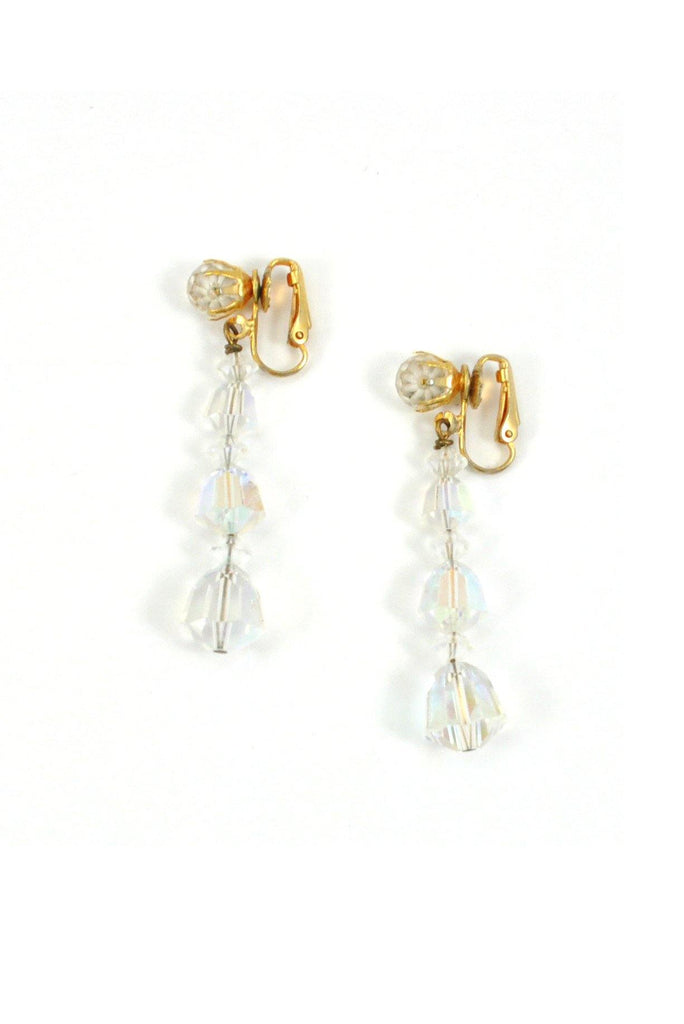 50s__Vintage__Crystal Drop Clip-On Earrings
