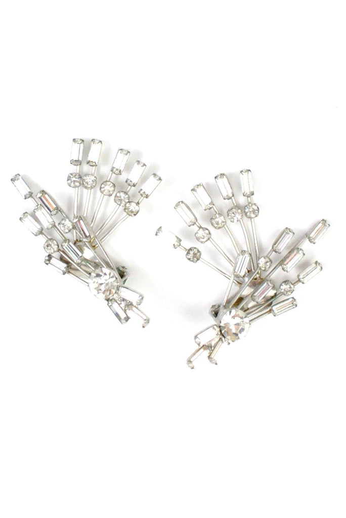 50s__Vintage__Rhinestone Spray Clip-On Earrings