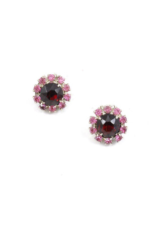 80s__Vintage__Red and Pink Rhinestone Clip-On Earrings