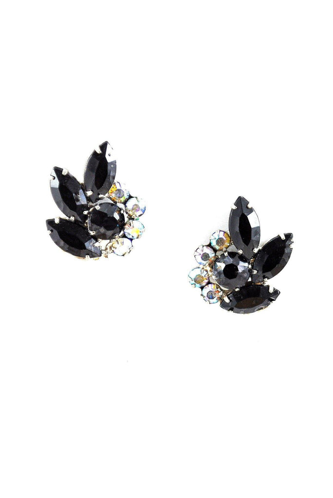 60s__Vintage__Black Rhinestone Crawler Clip-On Earrings
