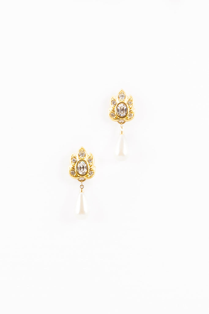 70's__Napier__Floral Rhinestone Pearl Drop Earrings